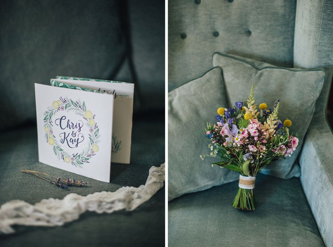 Summer themed invites and colourful wedding bouquet