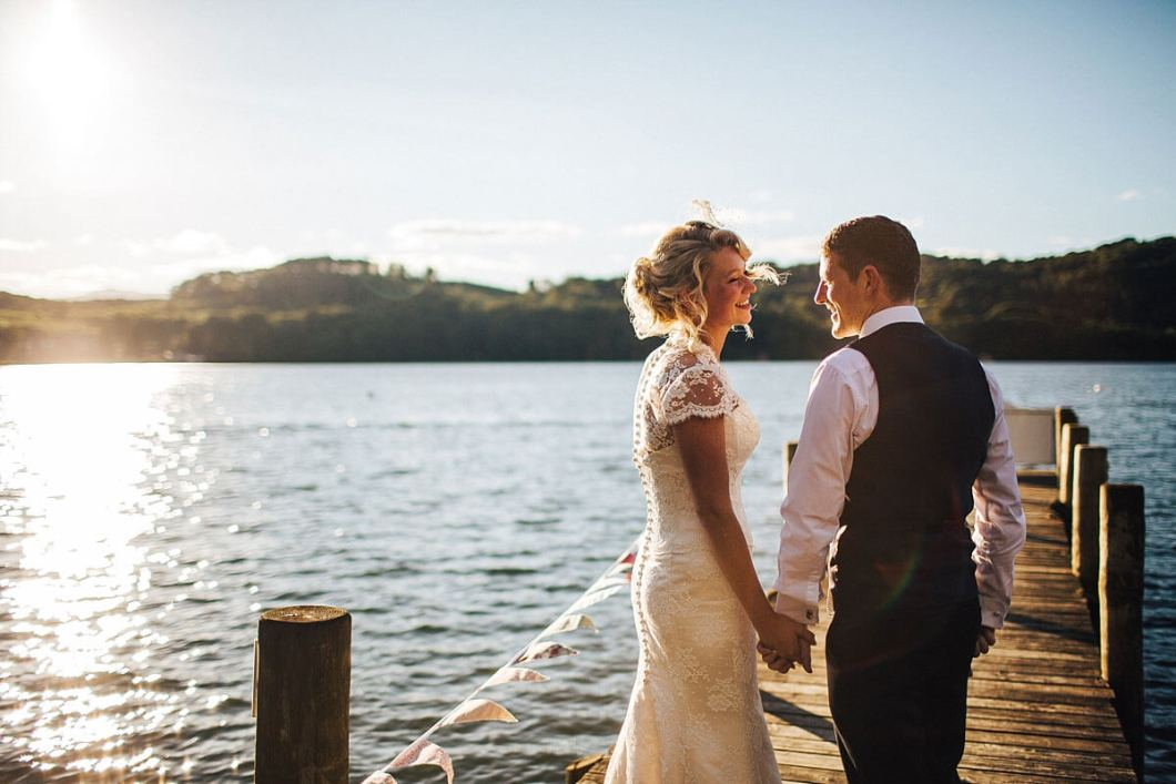 Lake Windermere wedding photo at Sunset