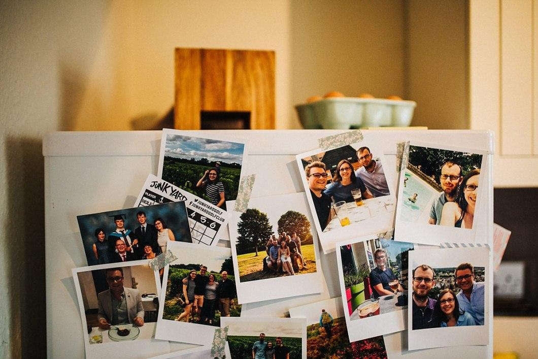 Family photos on the fridge