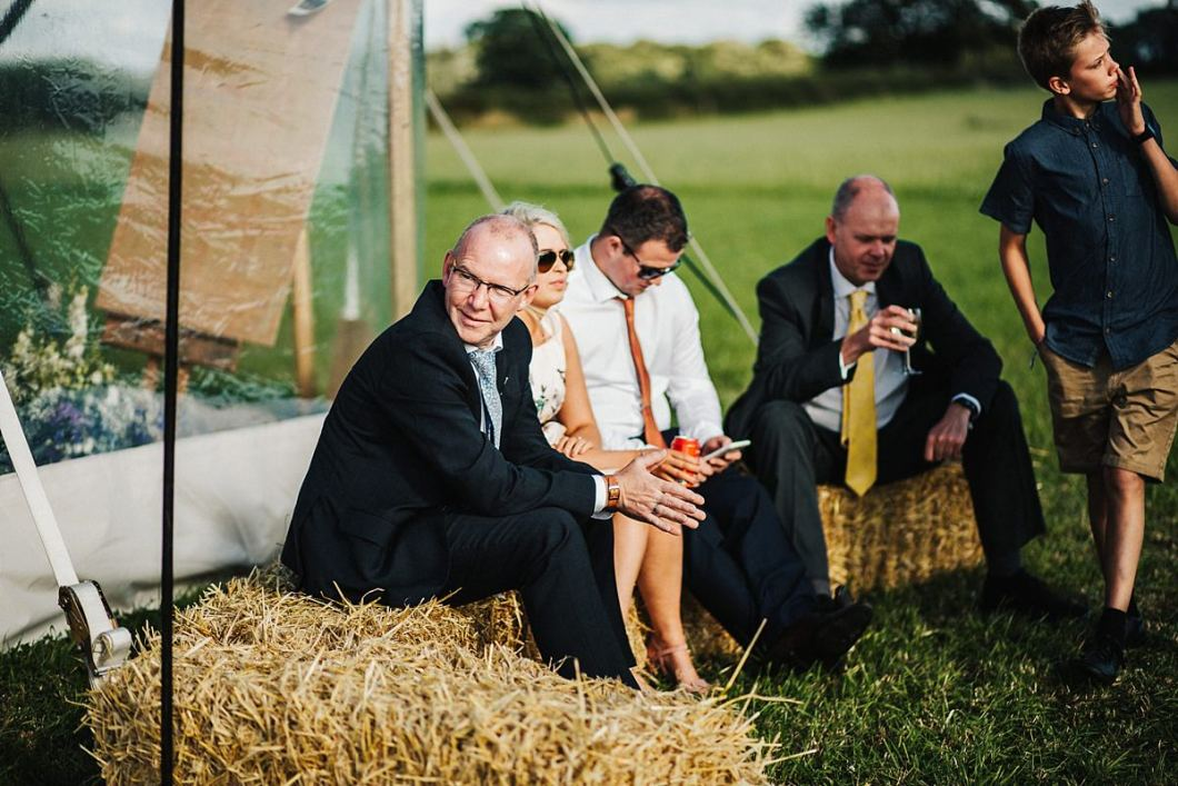 Hay bales outdoor wedding seating