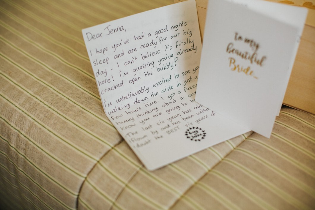 A lovely hand written note from the groom