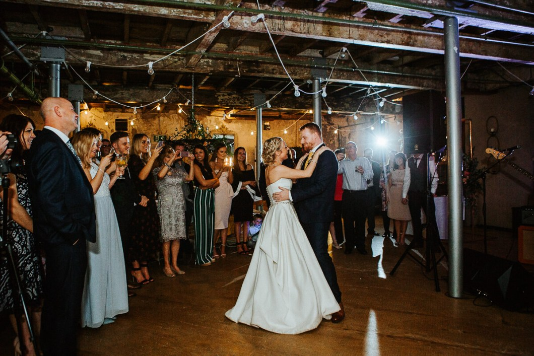Industrial wedding first dance