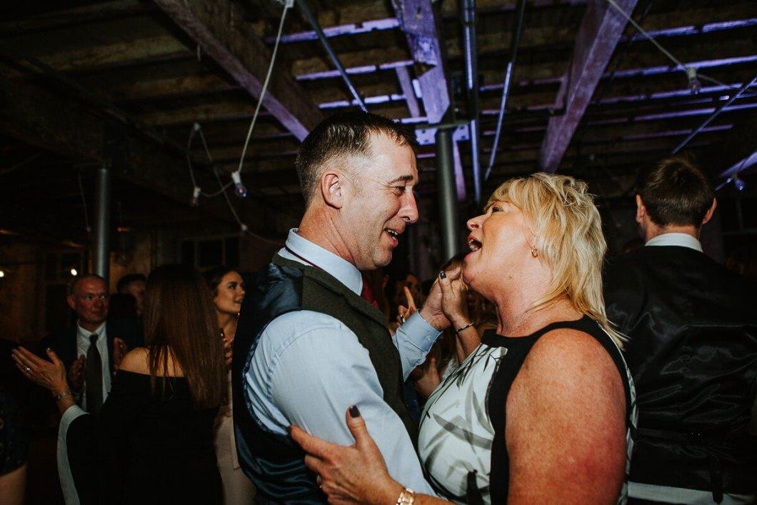 Guests dancing at a Lancashire wedding