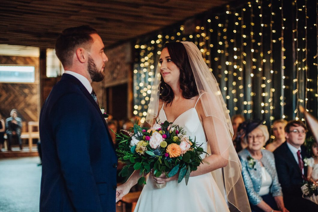 Bride and groom at their Cheshire wedding