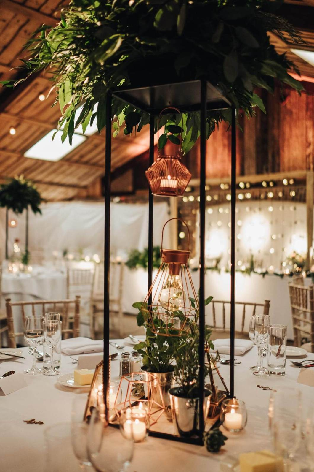 Copper themed wedding details