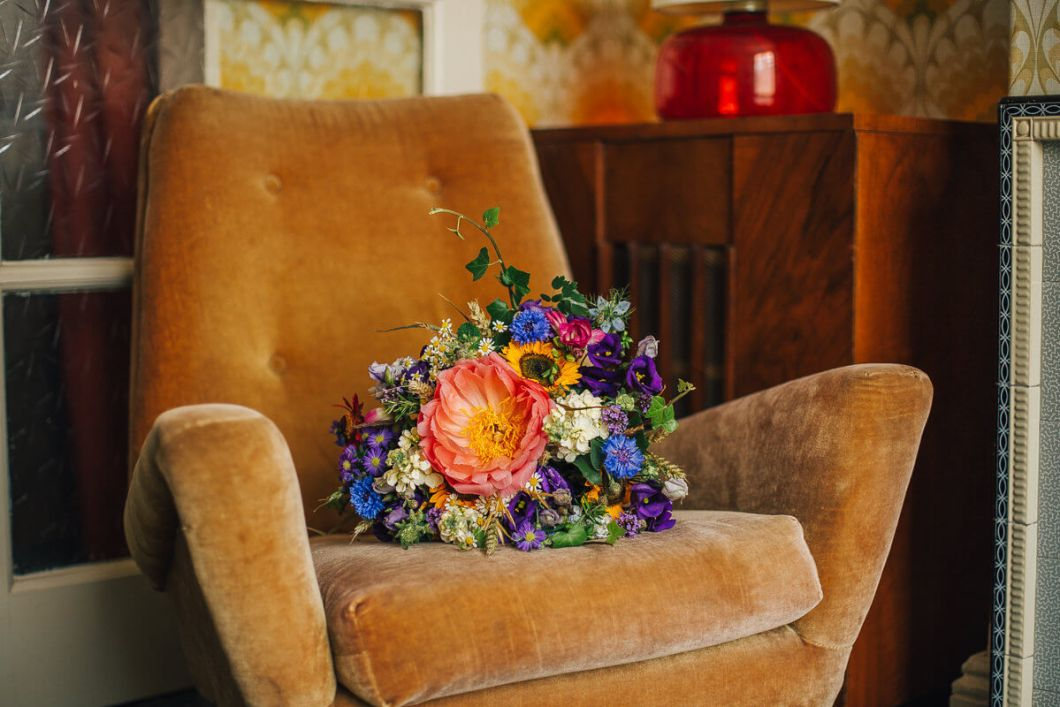 Vibrant summer wedding bouquet, The Great British Florist