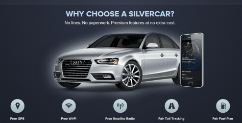 Silvercar homepage screenshot