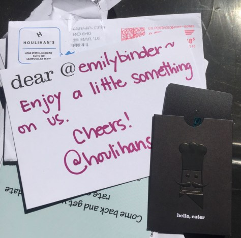 Personalized gift card and letter from Houlihan's