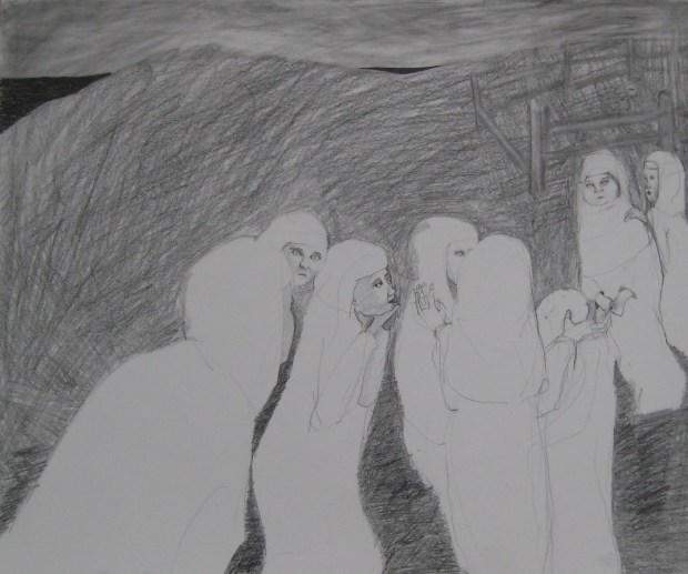 """St. Ebba convinced the sisters"", graphite on paper, 2015"