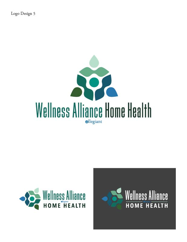 mockups made in adobe photoshop are paired with vector illustrations in adobe illustrator showing multiple configurations of the logo - Home Health Logo Design