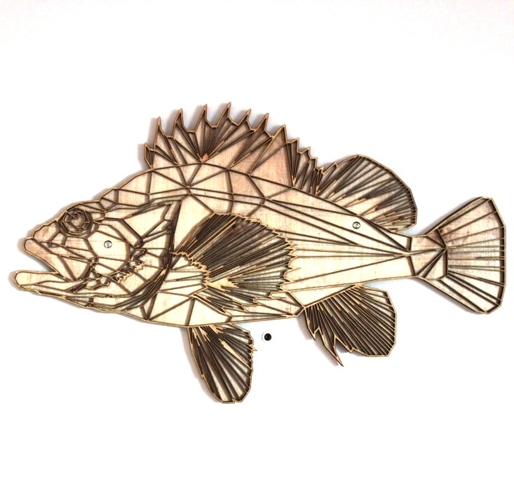 Yelloweye rockfish sculpture by Emily Longbrake