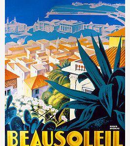 Vintage Art Deco French Travel Poster Beausoleil Monaco