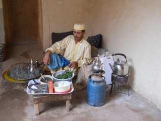 Moroccan man having tea