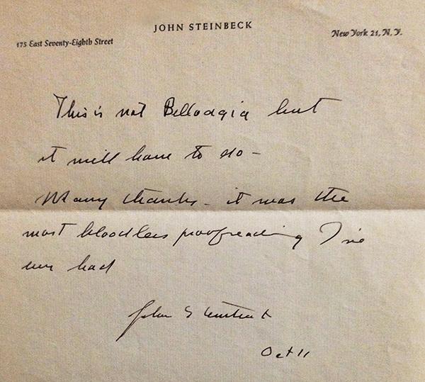 Letter from John Steinbeck