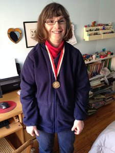 My friend with one of her gold medals.