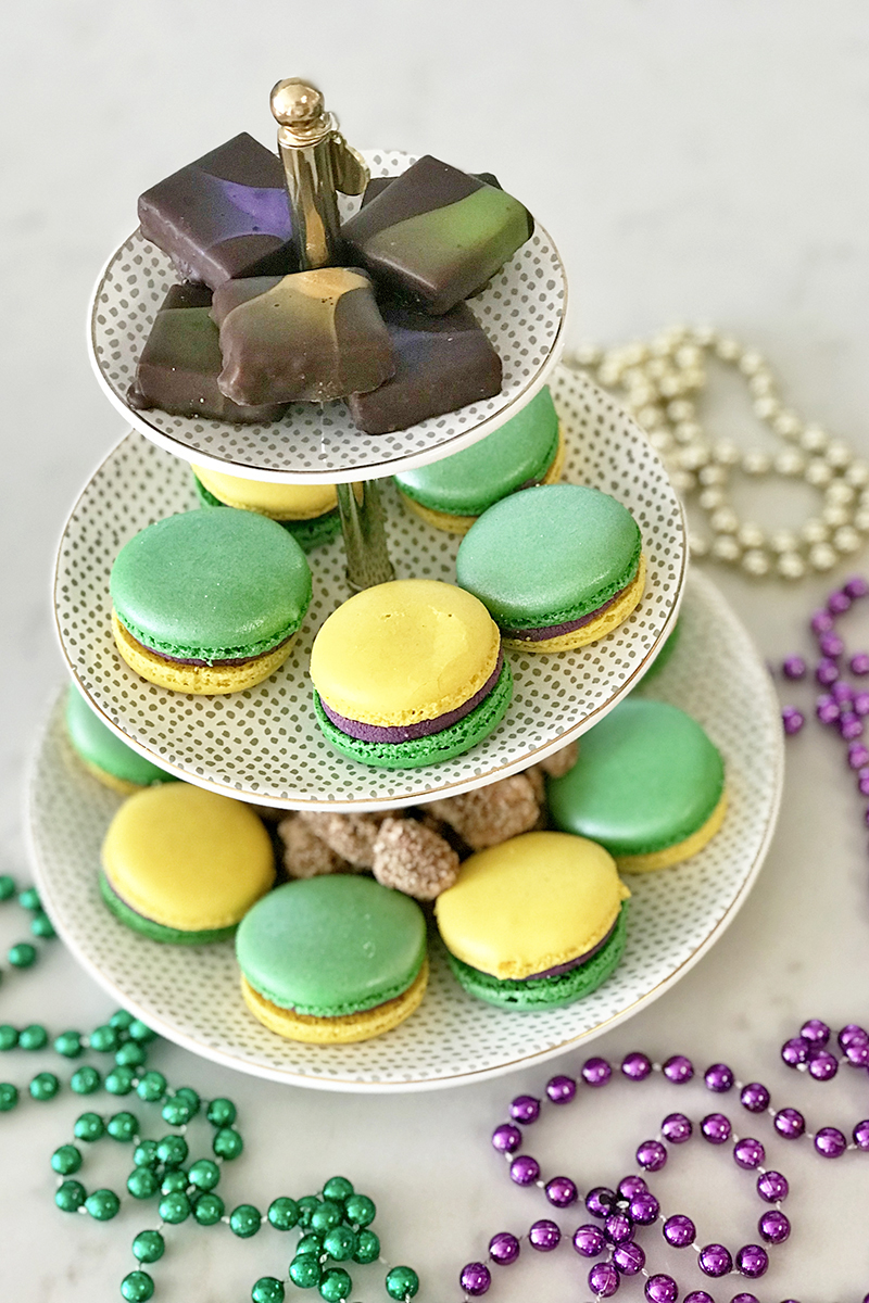 The best king cakes for Mardi Gras featured by top Louisiana life and style blogger, Emily Villere Dixon: king cake macarons