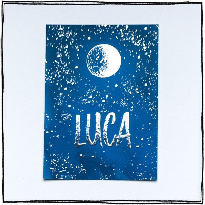 Geboortekaartje Luca zilverfolie