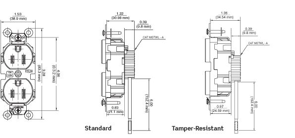 Leviton M5362-SW Lev-Lok Commercial Grade Duplex