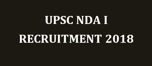 UPSC NDA I Online Form 2018