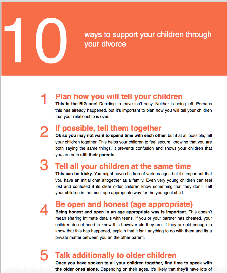 10 Ways to support your children through divorce.