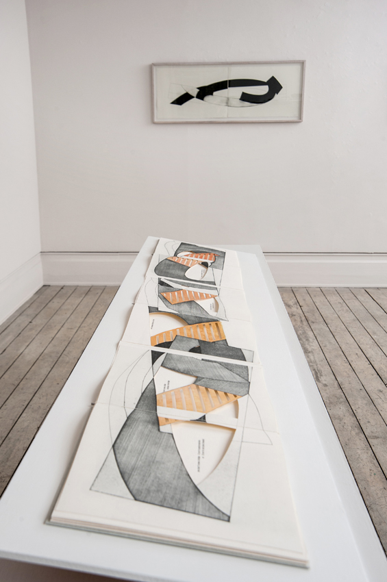 JULIA FARRER Syntax of Bridges, 2014, artist's book, 8 fold Leporello with 3 hand coloured etchings, 26.5 x 59cm