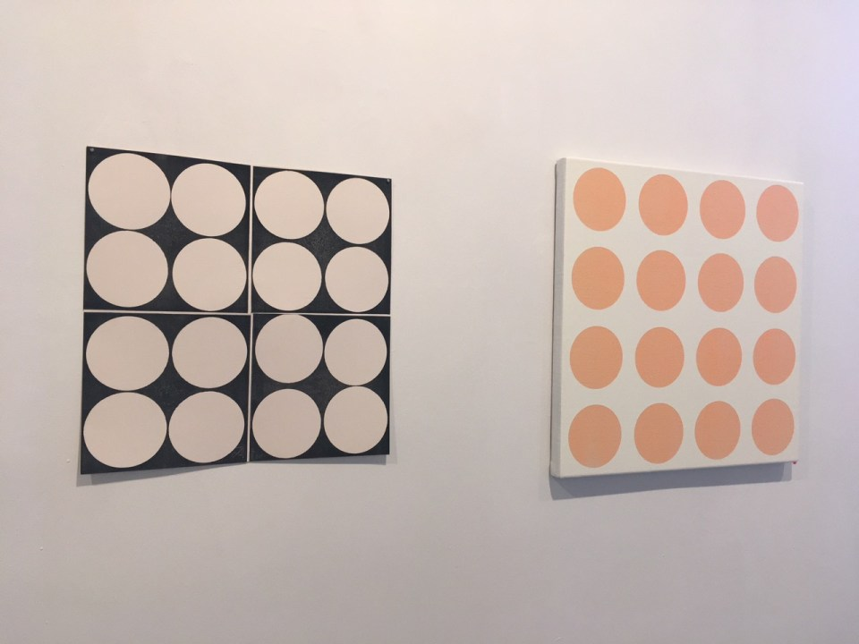 KATRINA BLANNIN, Four Fours (left), 2016, collagraphic monotype, 40 x 40cm & Cold Orange, 2017, acrylic on linen, 50 x 50cm