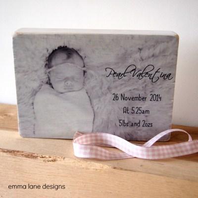 New baby photo keepsake