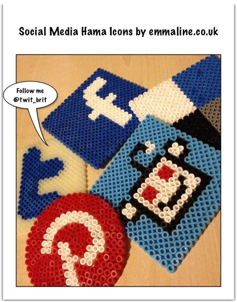 Social media icons Hama bead coasters by emmaline.co.uk