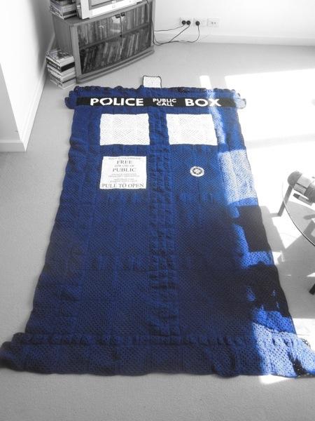 Doctor Who tardis crocheted blanket