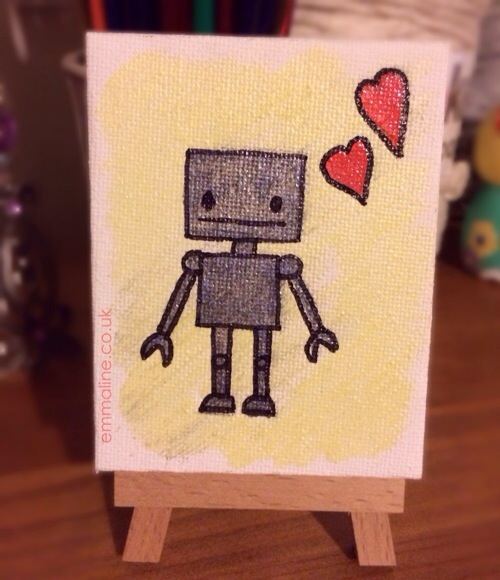 painted robot on canvas