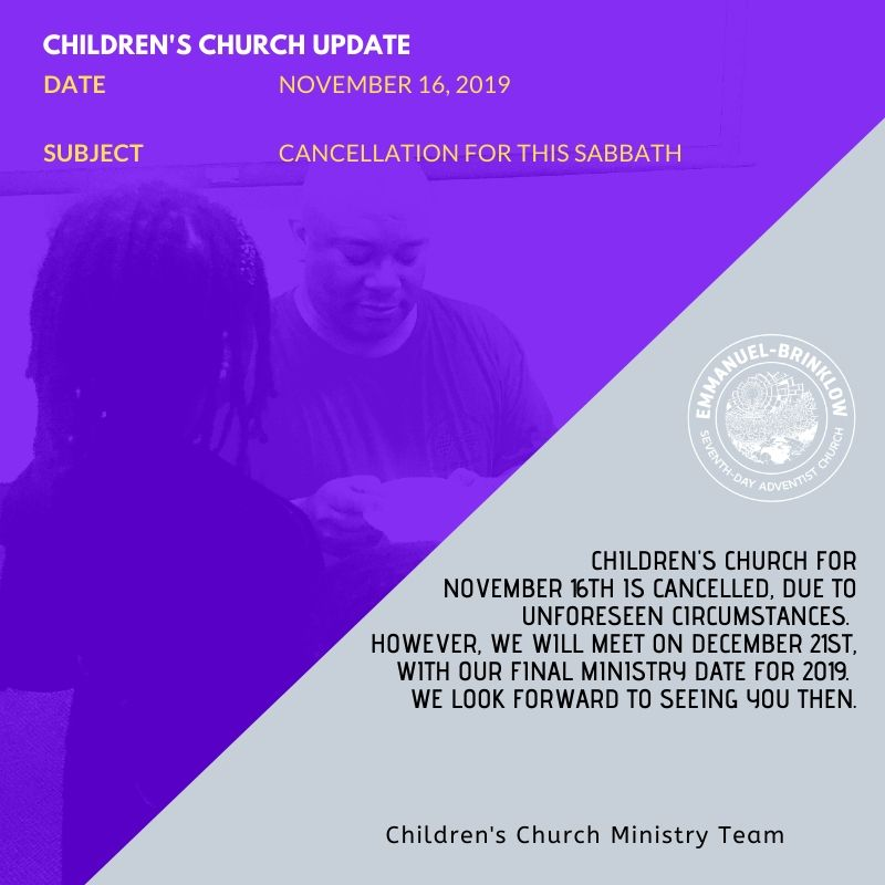 CHILDREN'S CHURCH CANCELLATION