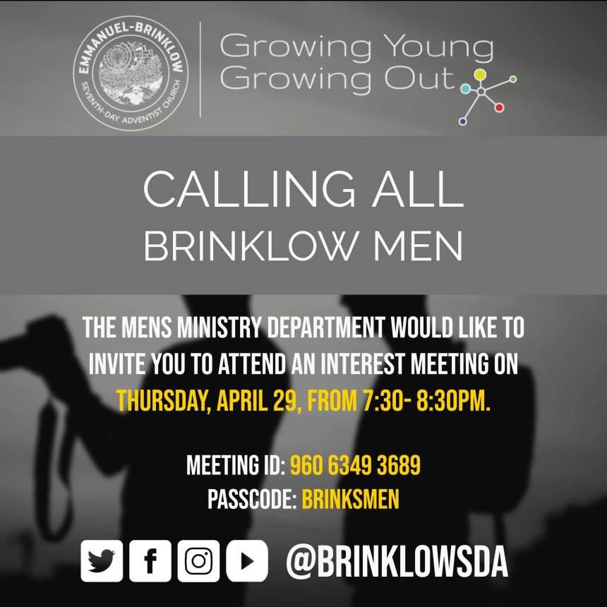 MEN'S MINISTRY MEETING April 29