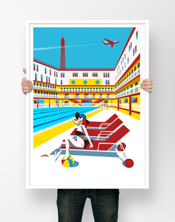 Affiche illustration Piscine Molitor