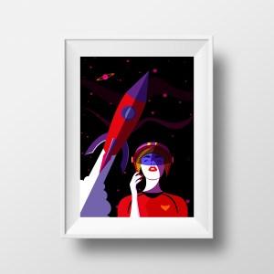 Affiche Illustration Minimaliste - Poster Mode Style Pop art Space Girl Espace Fusée Astronaute