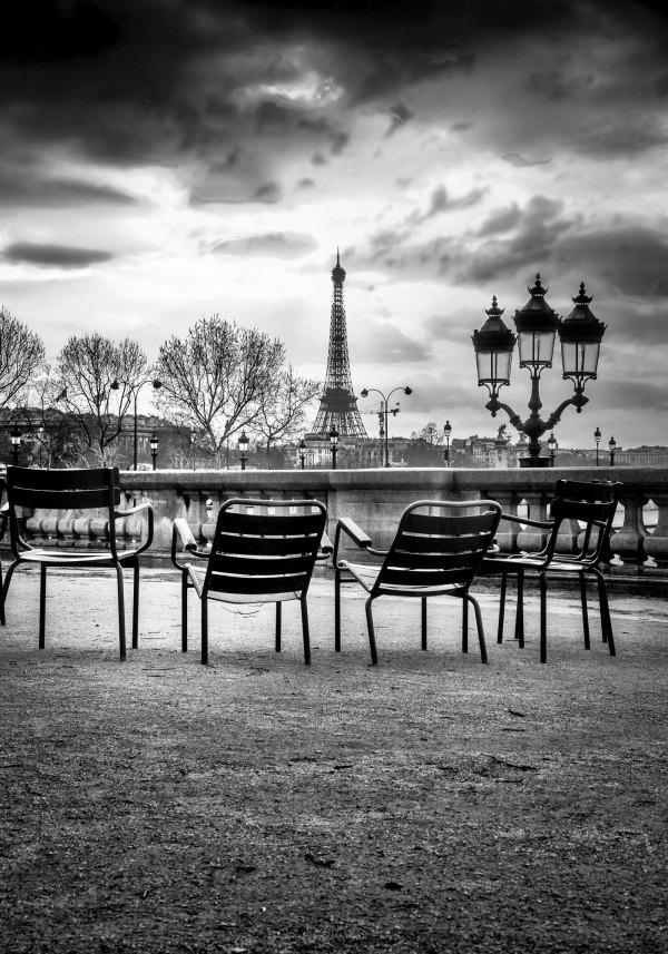 Le jardin des Tuileries Tour Eiffel en Noir et Blanc
