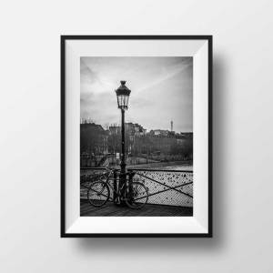 Photo noir et blanc paris pont des arts