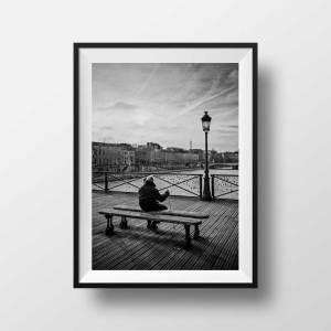 Photo Le Pont des Arts et la Tour Eiffel Noir et Blanc