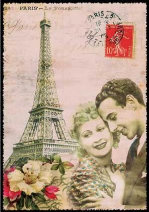 Cartes Postales Paris vintage - Amoureux