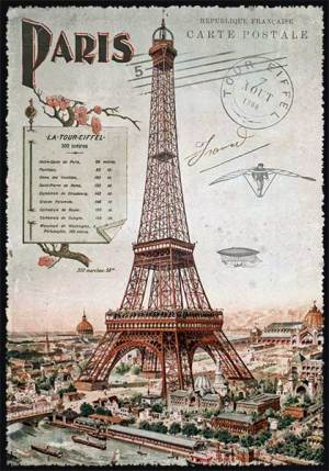 Cartes Postales Paris vintage - Ascension de la Tour Eiffel