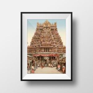Photo ancienne Inde du Sud Gopuram Madurai