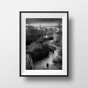 Tirage Photo de Paris Jardin Belleville Noir et Blanc