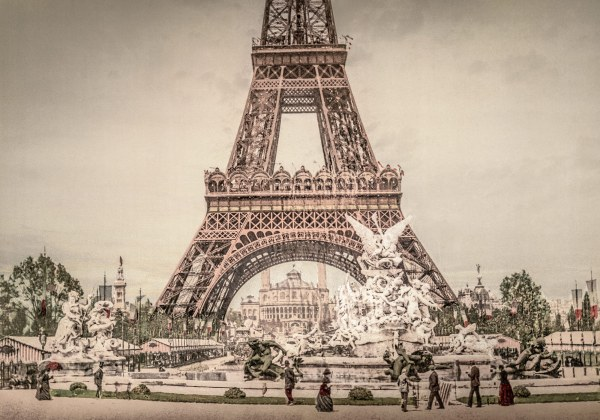Photo Ancienne Tour Eiffel Exposition Universelle