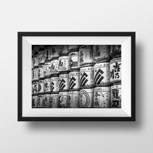 Photo Tokyo Japon Sanctuaire Jarres Saké Noir et Blanc