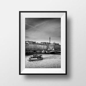 Photo Paris Noir et Blanc - La Seine Les Quais et la Tour Eiffel