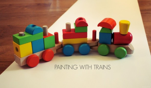 Great Boys Painting Activity with Trains