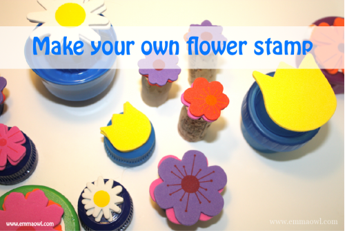 Flower stamps made from plastic lids. Recycling at it's best!