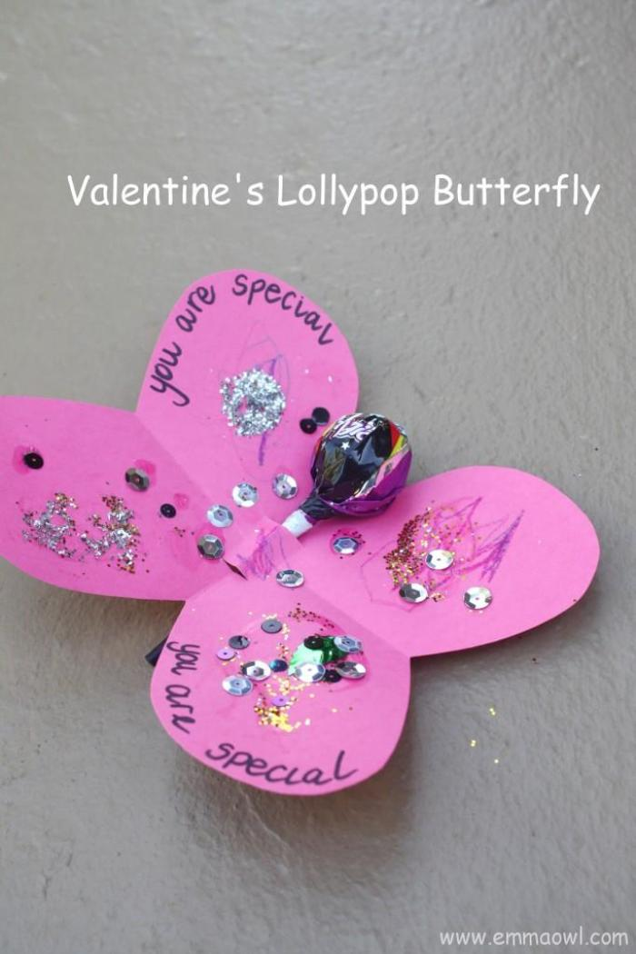 Valentine's Butterfly with Lollypop. Fun, friendly Children's Valentine Idea.