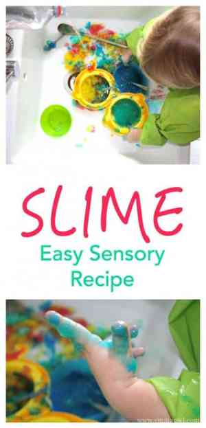 Make your own play slime with this easy sensory idea. All details here!
