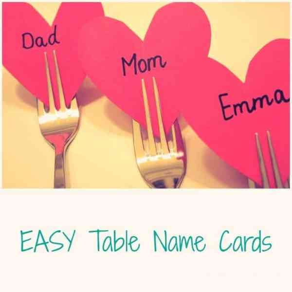 Easy Table Name Cards for Valentines Day