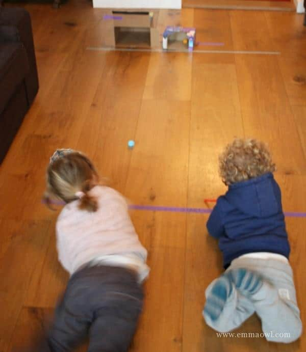 Racing Pom Poms with straws